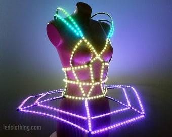 Futuristic Rainbow LED Light Up Ballet Tutu | Ballerina Costume with Smart led | Ballet dress LEDCLOTHING.COM