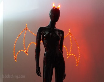 Wings and horns of devil | Demon Wings | Light up wings of Bat | Frame wings with LEDs | Halloween costumes - from LEDCLOTHING.com