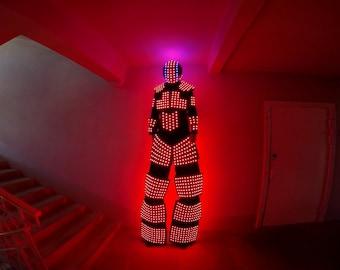 Stiltwalker suit with 1800 RGB color LEDs | LED costume - ledclothing.com
