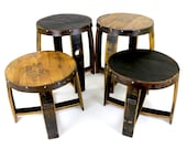 Whiskey Barrel End Tables - Bourbon Barrel Furniture - Round Side Tables - Rustic Reclaimed Wood