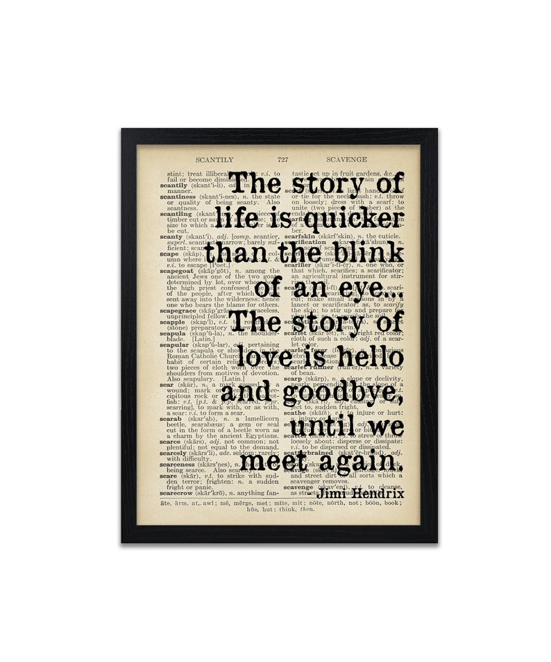 Profound Jimi Hendrix Quotes The Story of Life Quote Print