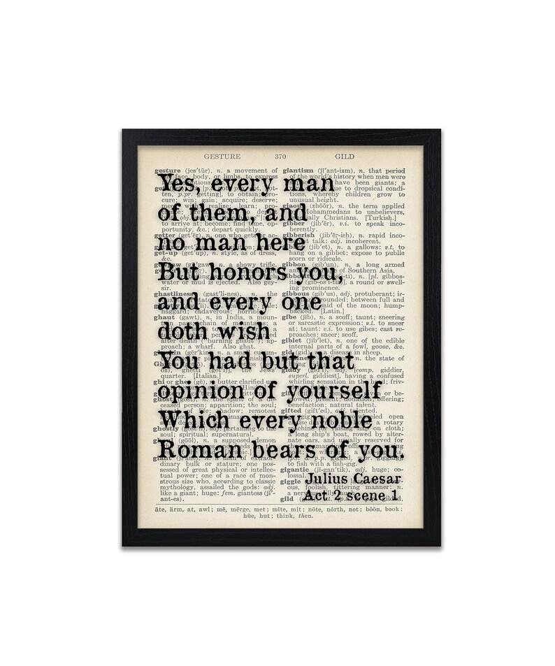 Shakespeare Quote Print Julius Caesar Quotes Dictionary Prints