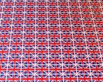 Union Jack Flag Cotton Fabric, 100% Cotton, Poplin Fabric