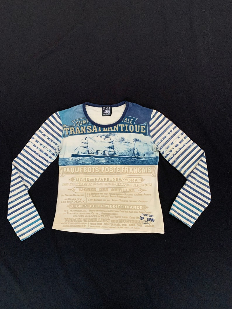 very rare old French marine prints Cop copine long sleeved mesh cotton top vintage Y2k JPGaultier style