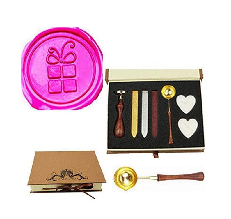 Gift Box Shape Bowtie Wax Seal Stamp Kit Christmas Card Gift Wrap Package Melting Spoon Sealing Wax Stick Box Christmas Wax Seal Stamp Set