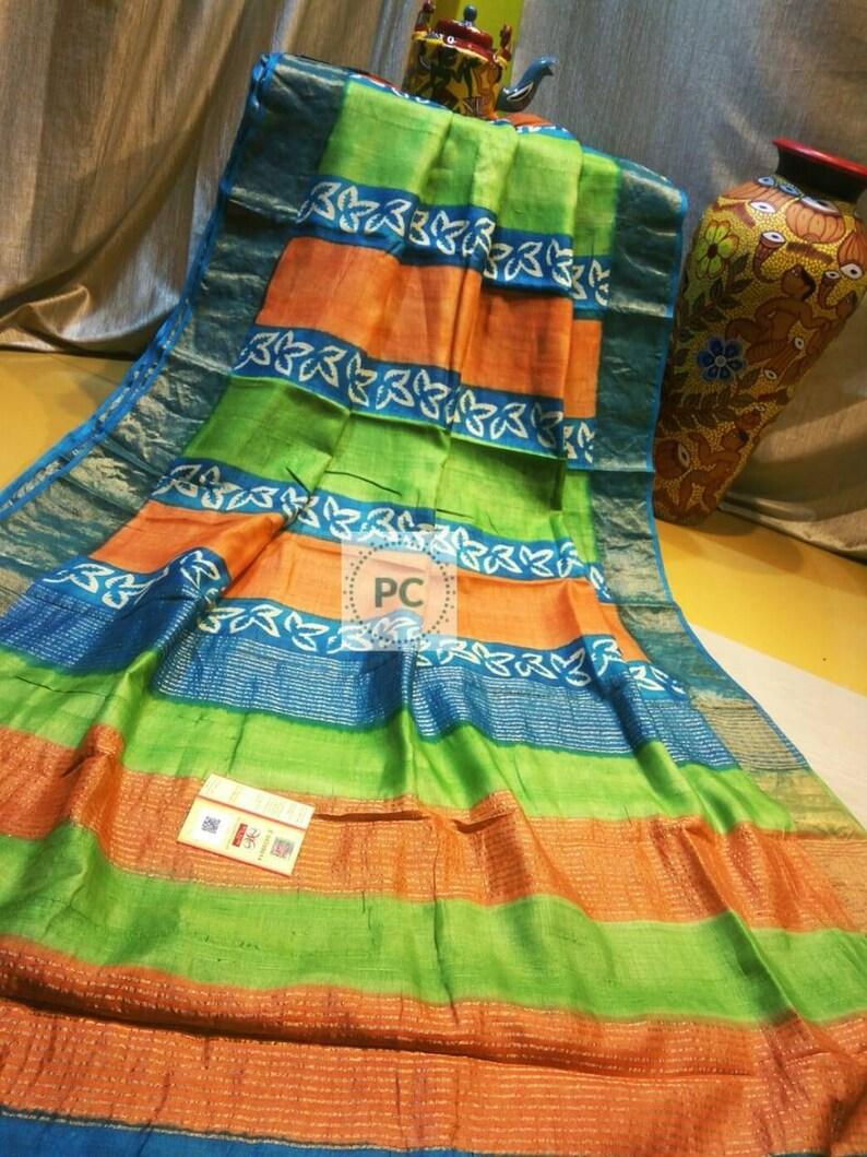 Zari Tussar Block Print sari with bp