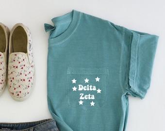 Delta Zeta Sorority   Comfort Colors Short Sleeve Pocket Tee