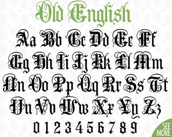 Old english script | Etsy