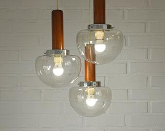 Amazing Space Age Pendant Light / Yugoslavia in 80's / Atomic Cascade Loft Ceiling Lamp / Mid Century Modern Light Fixture