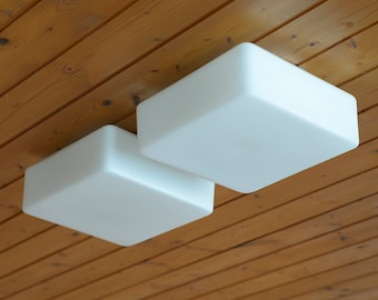Set of 2 Large Vintage Square Sconce Lamps / Milk White Glass Wall Lights / Mid Century Flush Mount Ceiling Light