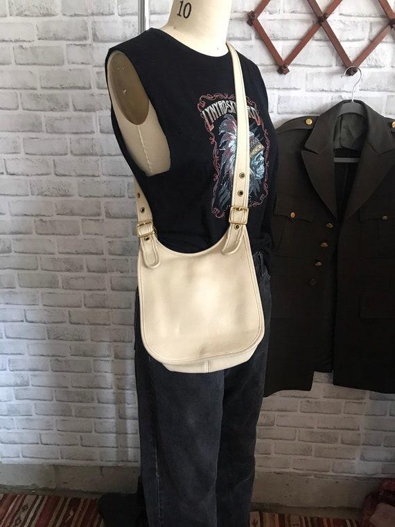 Vintage White Bone Putty Coach Hippie Saddle Bag-D