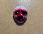 Sad clown doll face pendant - horror themed clown charm