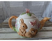 Easter bunny teapot rabbit butterfly spring decor house