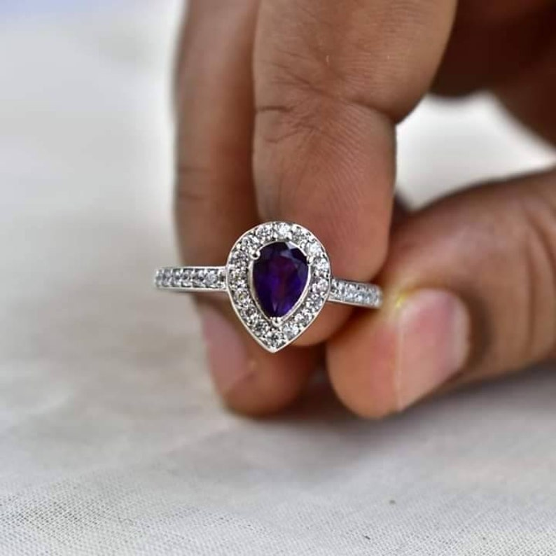 925 Sterling Silver Natural Amethyst Gemstone Girls Women Proposal Promise Anniversary Engagement Bridal Wedding Ring Online Gift Jewelry.