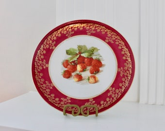 Art Deco Winterling Bavaria Germany Porcelain Fruit Dinner Plates (Set of 2) Embossed Gold Gilded Vintage 1950s Mid Century
