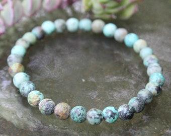 Rustic Ocean   African Turquoise Beaded Bracelet   8 mm & 6 mm   Coastal Haze   Gemstone Stretch Bracelet