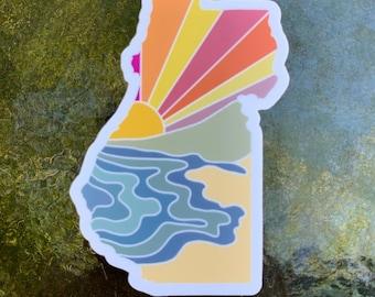 Humboldt County Beach Scene Vinyl Sticker   Weatherproof   Matte   Water Bottle Sticker   Dishwasher Safe   Coastal Haze Sticker  