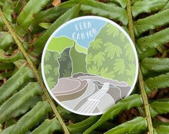 Fern Canyon Vinyl Sticker   Weatherproof   Water Bottle Sticker   Fern Lover   Plant Lover   California State Park   Redwood National Park