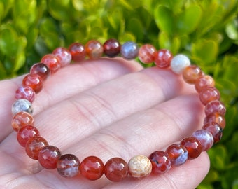 Flaming Sea   Red Fire Crackle Agate    6 mm   Coastal Haze   Gemstone Stretch Bracelet   Boho Jewelry