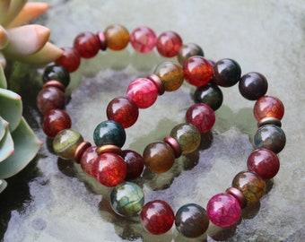 Redwood Floor   Glossy Multicolored Crackle Agate with Bronze Beads   10 mm   Coastal Haze   Gemstone Stretch Bracelet