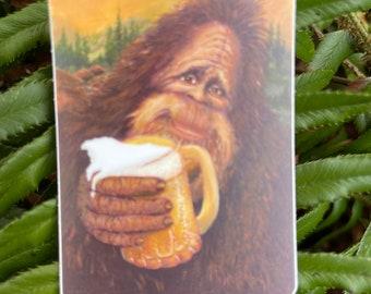 Bigfoot Drinking Beer Vinyl Sticker   Weatherproof   Water Bottle Sticker   Dishwasher Safe   Sasquatch   Craft Beer Lover  