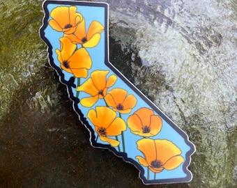 California Poppy State Vinyl Sticker   Weatherproof   Matte   Water Bottle Sticker   Dishwasher Safe   Coastal Haze Sticker  