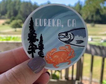 Eureka, California Vinyl Sticker   Redwoods + Crabs + Salmon   Weatherproof   Water Bottle Sticker   Dishwasher Safe   Coastal Haze Sticker