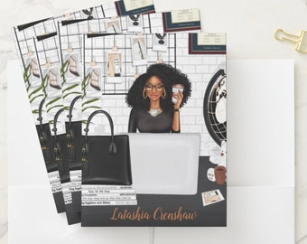 """Black Coils Paperie Signature Pocket Folders, 9"""" x 12"""" Personalized Black and Educated Girl Boss File Folders, Custom Office Supplies"""