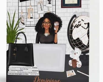 """Black Coils Paperie Signature Personalized 3-Ring Binder, 1.5"""" Black and Educated Girl Boss Business Binder, Custom Office School Supplies"""