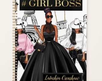 """Black Coils Paperie Signature Undated Hardcover Planner, 8.5"""" x11"""" Personalized Black Girl Boss In Paris Planner, Custom Office Supplies"""