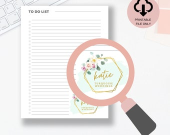 Personalized Printable To Do List Page,  Logo Daily Planning Page, Printable Life Planner Sheet, Floral Art Printable
