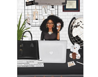 Black Coils Paperie Signature Personalized Clipboard, Letter Size Acrylic Black and Educated Girl Boss Clipboard, Custom Office Supplies