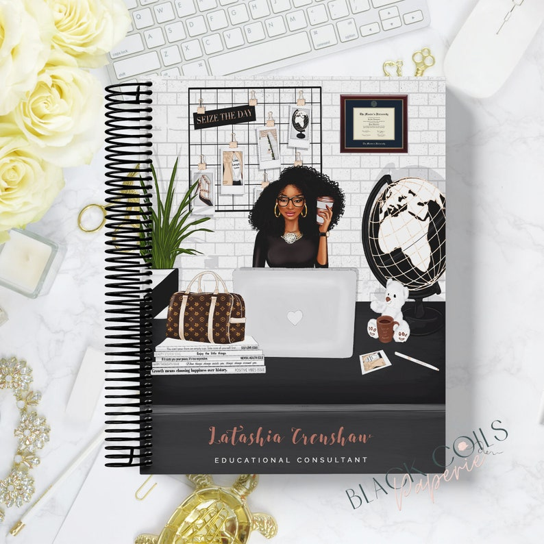 2021 Personalized Black and Educated Planner 8.5x11 Girl Boss image 0