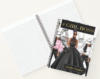 """Black Coils Paperie Signature Notebook, 8.5"""" x 11"""" Personalized Black Girl Boss In Paris Softcover Spiral Notebook, Custom Supplies"""