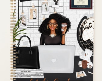 """Black Coils Paperie Signature Undated Hardcover Planner, 8.5"""" x11"""" Personalized Black and Educated Girl Boss Planner, Custom Office Supplies"""