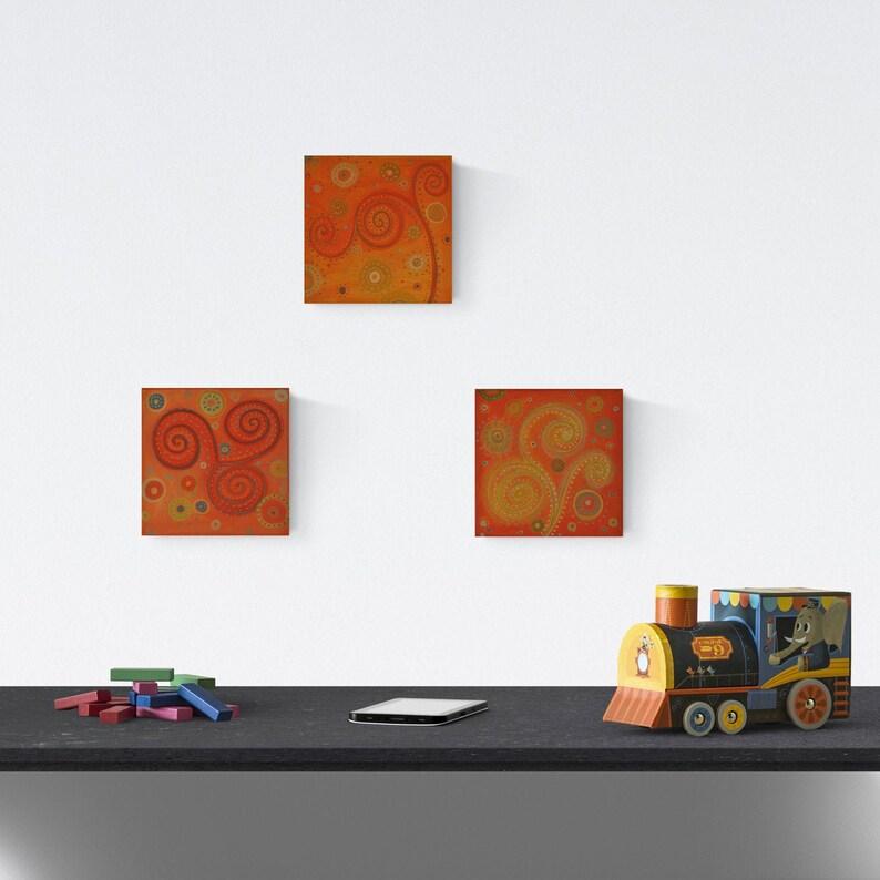 Set of 3 small acrylic paintings original wall canvas art image 0