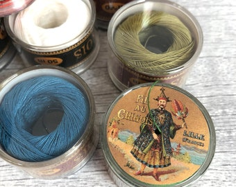 50 m can of French waxed linen twine, Fil Au Chinois Lin Câblé No. 40, 0.5 mm thick,
