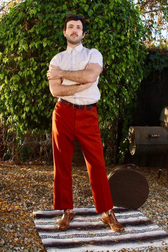 Maroon Wine Shaded Leisure Polyester Pants || 70s
