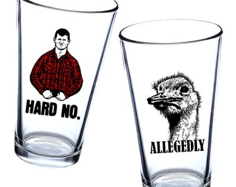 Letterkenny Pint Glass Sets - Multiple Designs - 2 Glasses Per Set (Hard No, Allegedly, Pitter Patter, To Be Fair)