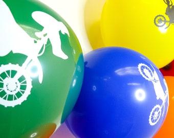 "Motocross/Dirt Bike Stunts Themed 12"" Latex Party Balloons - Pack of 30"