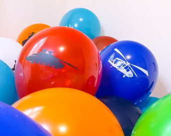 """Military Vehicles Themed 12"""" Latex Party Balloons - Pack of 30 /  Planes, Tanks, Ships, Helicopter and more!"""