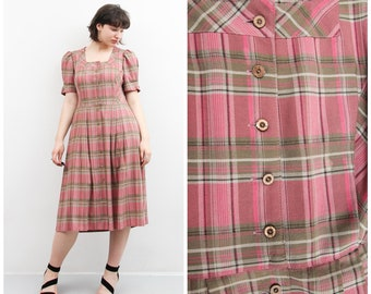 Vintage Navy Check Button Down Dress  Minimalist Short Sleeve Maxi Rayon Dress  Collared Button Down Shirt Dress  Micro Gingham Dress