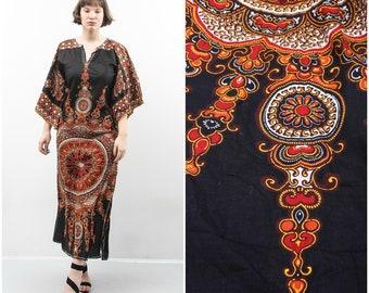 African Print Maxi Dress  Black Paisley Dress Printed Oriental Dress Long Sleeve Dress Medium Dress Original Java Prints Bohemian Dress