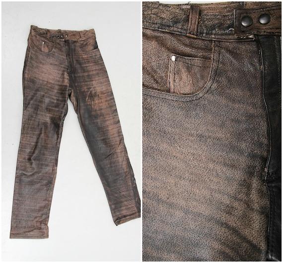 Vintage Brown Leather Pants / Genuine Leather Pant