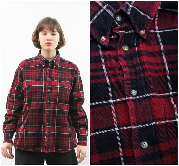 50/% SUMMER SALE Vintage JPS Red White Checkered Plaid Pattern Trim Silk Button Down Classic Long Sleeve Shirt Top Blouse Sz Small