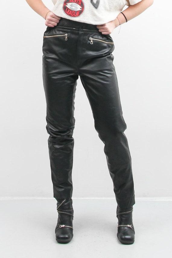 Vintage Men Black Leather Pants / 90s Leather Pan… - image 6