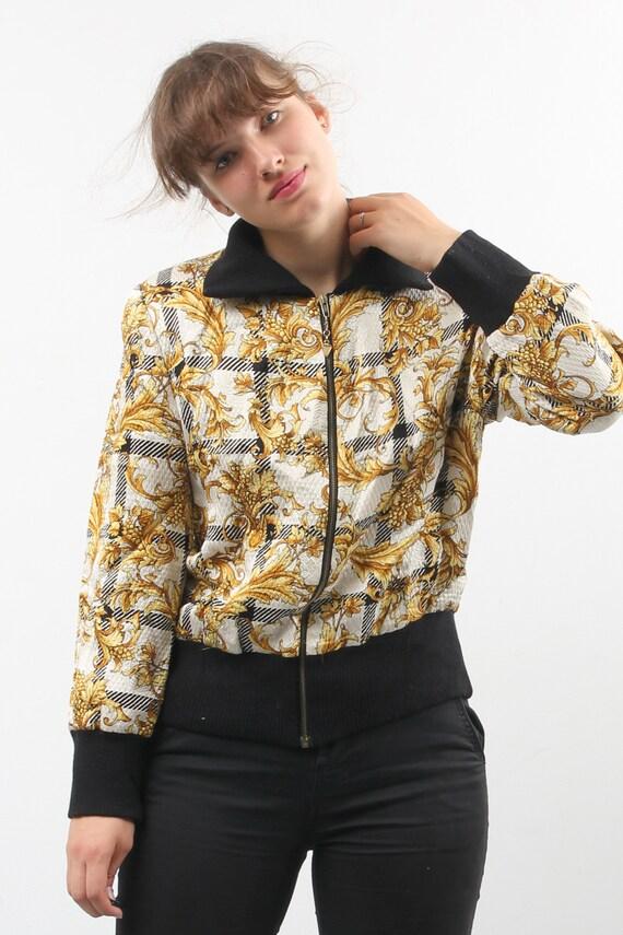 Vintage Silk And Wool Printed Bomber / Floral Bom… - image 8