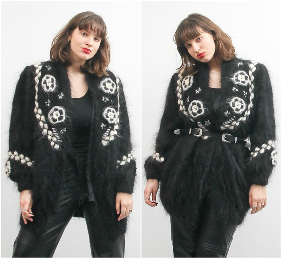 Vintage Black Mohair Cardigan / Extra Large Embroi