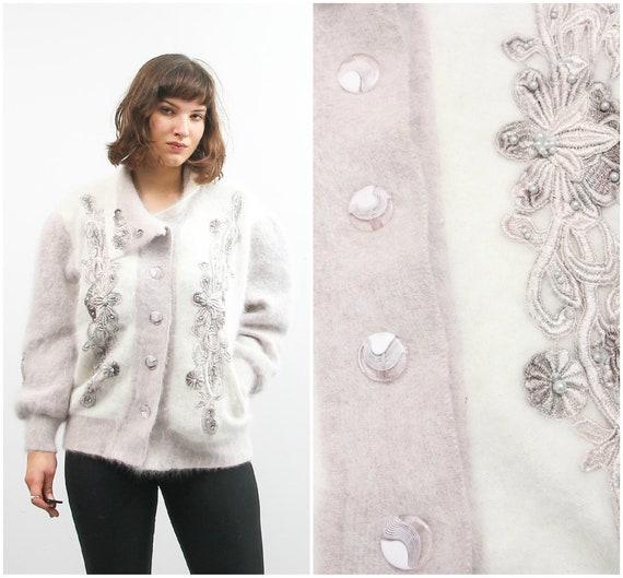 Vintage Button Up Cardigan / Angora Wool Cardigan