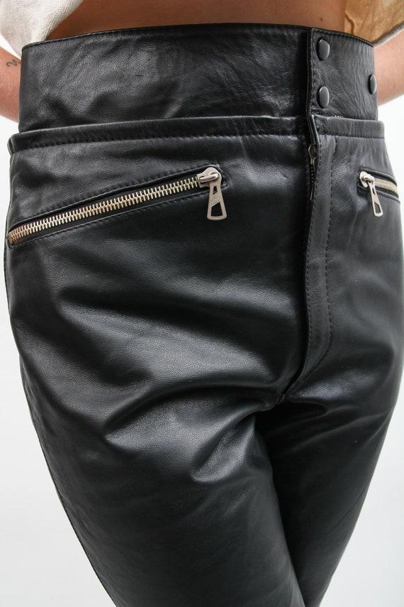 Vintage Men Black Leather Pants / 90s Leather Pan… - image 9